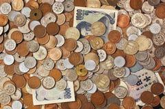 Monedas japonesas del dinero Fotografía de archivo libre de regalías