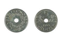 Monedas noruegas Imágenes de archivo libres de regalías