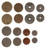 Monedas noruegas aisladas en blanco Imagenes de archivo