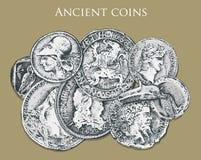 Monedas o dinero antiguas determinadas recompensa romana y griega del efectivo mano grabada dibujada en el viejo bosquejo, estilo ilustración del vector