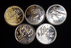 Monedas olímpicas de invierno Fotos de archivo libres de regalías