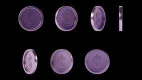 Monedas púrpuras brillantes de alta resolución del metal fijadas stock de ilustración