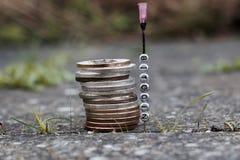 Monedas phisical de Bitcoin imagen de archivo