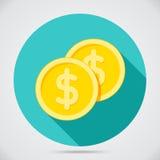 Monedas planas del estilo dos stock de ilustración