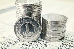 Monedas polacas del zloty Fotos de archivo