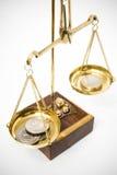 Monedas polacas en escala del oro Fotografía de archivo