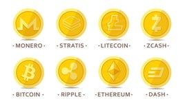 Monedas principales del cryptocurrency fijadas Fotografía de archivo