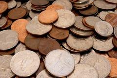 Monedas (profundidad del campo profunda) Foto de archivo libre de regalías