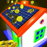 Monedas que caen en la casa que muestra el ahorro del dinero o Advantag monetario Foto de archivo libre de regalías