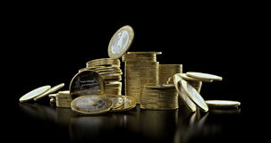 Monedas que caen en pila almacen de video