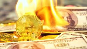 Monedas que pertenecen al dólar ardiente cercano de Cryptocurrency Bitcoin almacen de video