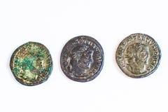 Monedas romanas Monedas viejas raro histórico Imagen de archivo