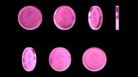 Monedas rosadas brillantes de alta resolución del metal fijadas stock de ilustración