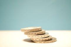 Monedas rumanas Imagenes de archivo