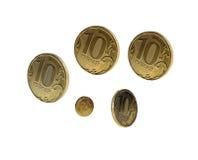 Monedas rusas de 10 rublos Fotografía de archivo libre de regalías