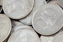 Monedas rusas en cierre para arriba Fotografía de archivo libre de regalías