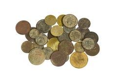 Monedas soviéticas viejas en el fondo blanco Fotos de archivo libres de regalías