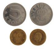 Monedas suecas aisladas en blanco Imagen de archivo