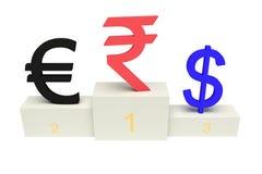 Monedas superiores, rupia india fuerte, con los números, aislados Imagenes de archivo