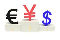 Monedas superiores, yenes fuertes, aislados Fotos de archivo