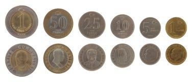 Monedas turcas aisladas en blanco Imagen de archivo libre de regalías