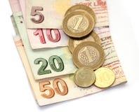 Monedas turcas de la lira y billetes plegables Fotos de archivo libres de regalías