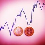 Monedas un euro contra la carta de la tasa de cambio Dinero euro Imagen de archivo libre de regalías