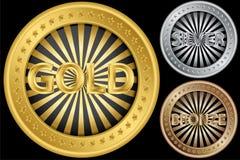 Monedas vacías de oro, de plata y de bronce Imagenes de archivo