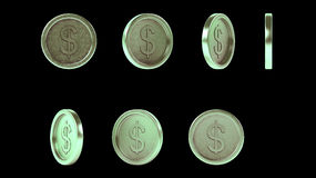 Monedas verdes brillantes de alta resolución del metal fijadas ilustración del vector