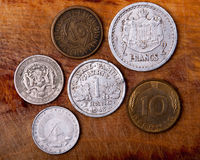 Monedas viejas de Europa Imagenes de archivo