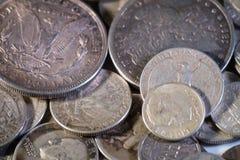 Monedas viejas de los E.E.U.U. de la plata Foto de archivo libre de regalías