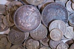 Monedas viejas de los E.E.U.U. de la plata Foto de archivo