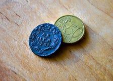 Monedas viejas de Rusia 1731 Foto de archivo libre de regalías