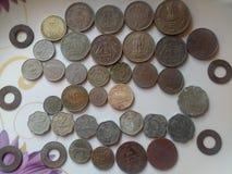 Monedas viejas indias foto de archivo