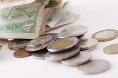 Monedas y billetes de banco Imagen de archivo