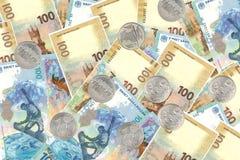Monedas y billetes de banco conmemorativos Sochi y la república del CRI Imágenes de archivo libres de regalías