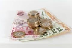 Monedas y billetes de banco de la lira turca Imagen de archivo