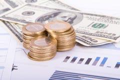 Monedas y billetes de banco del dólar en gráficos de la carta de barra Foto de archivo