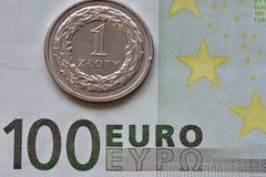 Monedas y billetes de banco EUR y PLN Foto de archivo