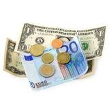 Monedas y billetes de banco euro del dinero Imagen de archivo