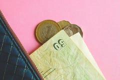 Monedas y billetes de banco de los países diferentes en cartera azul en fondo rosado imagenes de archivo