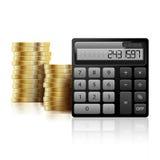 Monedas y calculadora de oro Imágenes de archivo libres de regalías