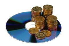 Monedas y CD rusos fotos de archivo