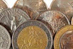Monedas y centavos euro Imágenes de archivo libres de regalías