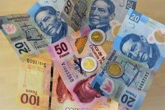 Monedas y cuentas de los Pesos mexicanos fotografía de archivo libre de regalías