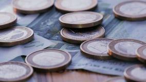 Monedas y cuentas euro Tiro de la rotación de Loopable metrajes