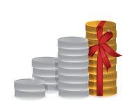 Monedas y diseño del ejemplo de la cinta Foto de archivo libre de regalías