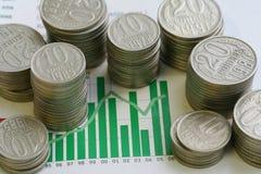 Monedas y gráfico Fotografía de archivo libre de regalías