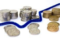 Monedas y gráfico Fotografía de archivo