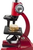 Monedas y microscopio Imagenes de archivo